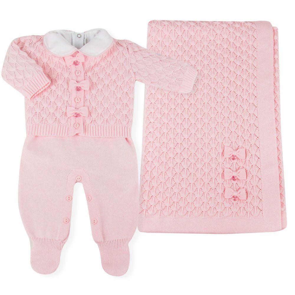 Saída de Maternidade Conjunto Escamas com Swarovski - Rosa - Petit Mouton -  Novo Bebe 2bdb94d19c0