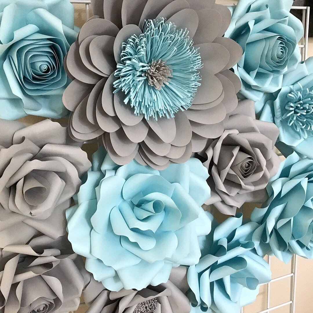 Gray and Blue Paper Flower Wall Decor In Stock  flowers