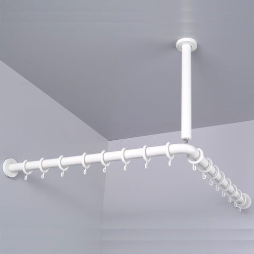 PBA Nylon Corner Shower Curtain Rod With Ceiling Support | Shower ...