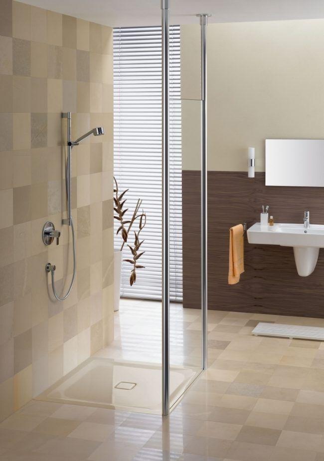 Ebenerdige Dusche -duschwanne-duschkabinne-ablauf-beige-braun-glas - badezimmer beige braun