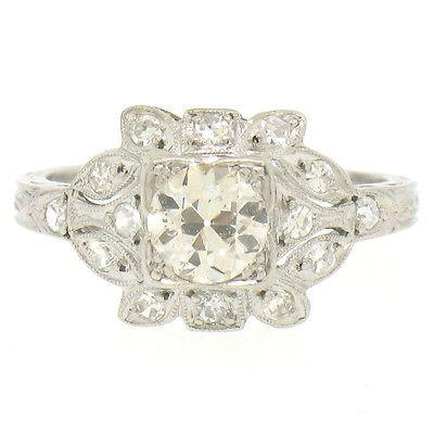 Antique Art Deco Platinum .85ctw Euro Cut Diamond Etched Flower Engagement Ring