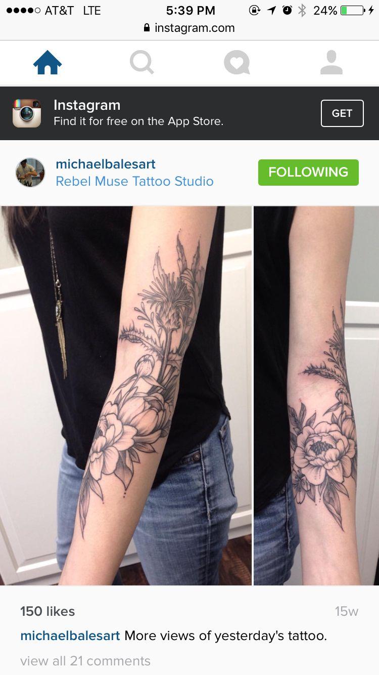 Multiple Tattoo Sleeve: #michaelbalesart #tattoo #floral Wraparound Multiple