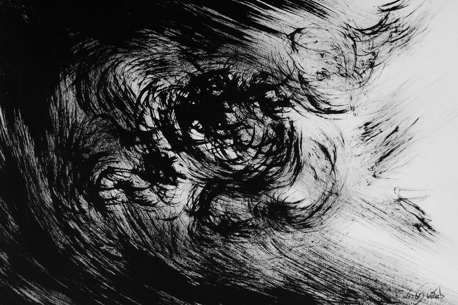 "Cloud In Dark Night 7 "" Original Acrylic Abstract Art Painting"