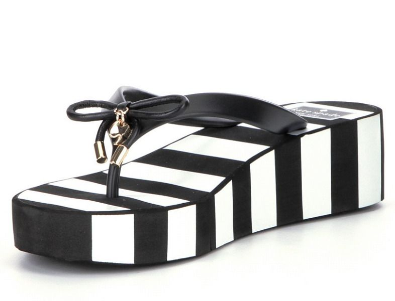 c1d8a3b43 Kate Spade Rhett Flip Flop sandals black white thin stripe 8 M SANDAL New   katespade  FlipFlops  VERATILE