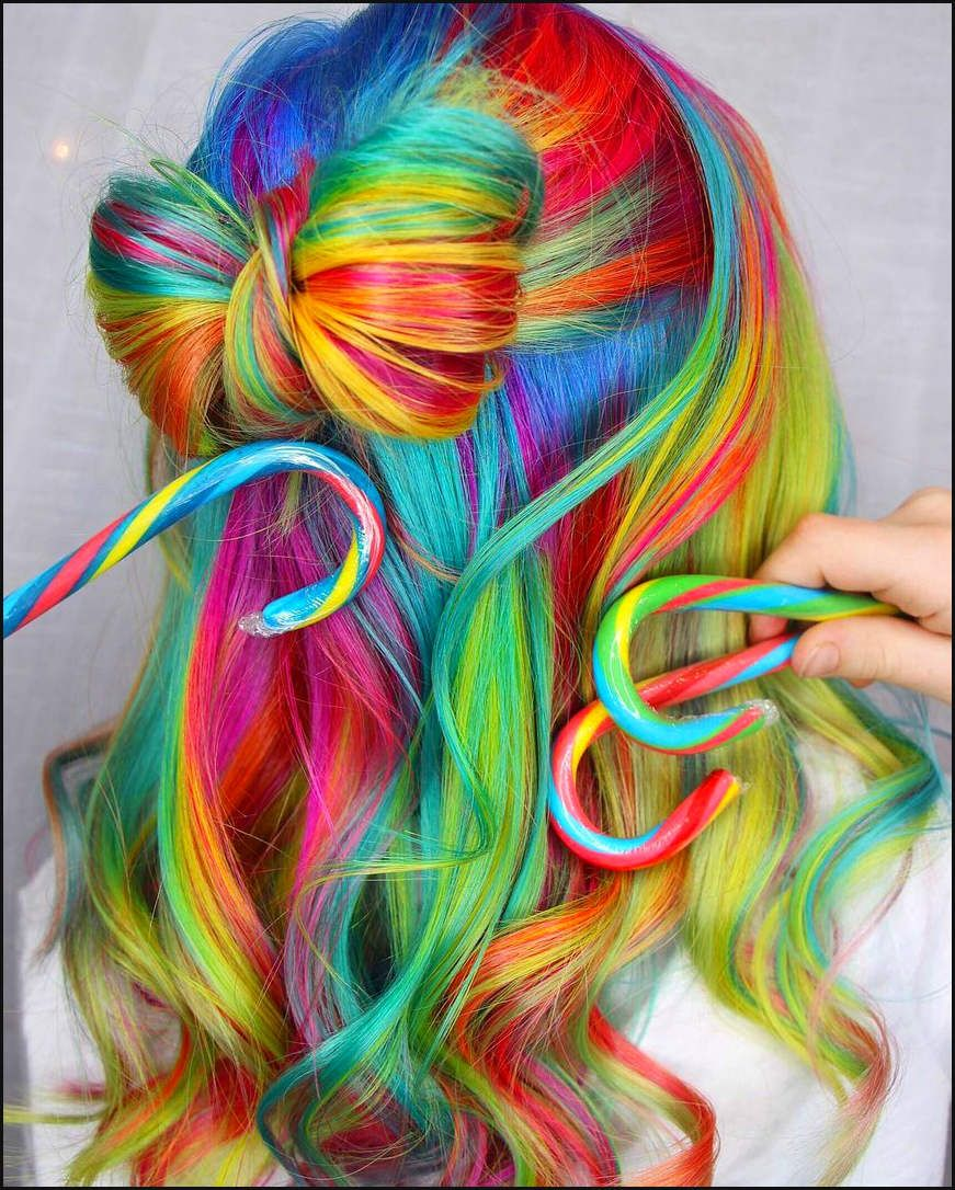 Regenbogen Haare Haarfarben Parfum De Pinterest Einfache Frisuren Rainbow Hair Color Hair Inspiration Color Rainbow Hair