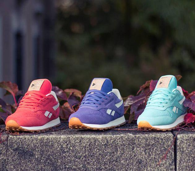 reebok classic leather suede purple heels