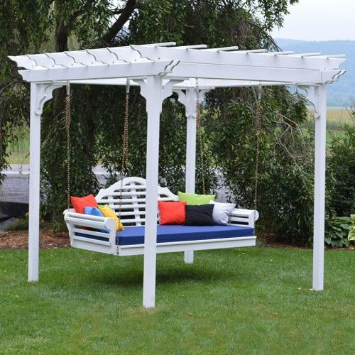 Cedar White Pergola Daybed Swing Set - 426C | 700C, 701C - A&L Furniture Co. Cedar White Pergola Daybed Swing Set - 426C