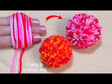 Super Easy Pom Pom Making Ideas with Fingers - Hand Embroidery Amazing Trick - DIY Woolen Flowers - YouTube