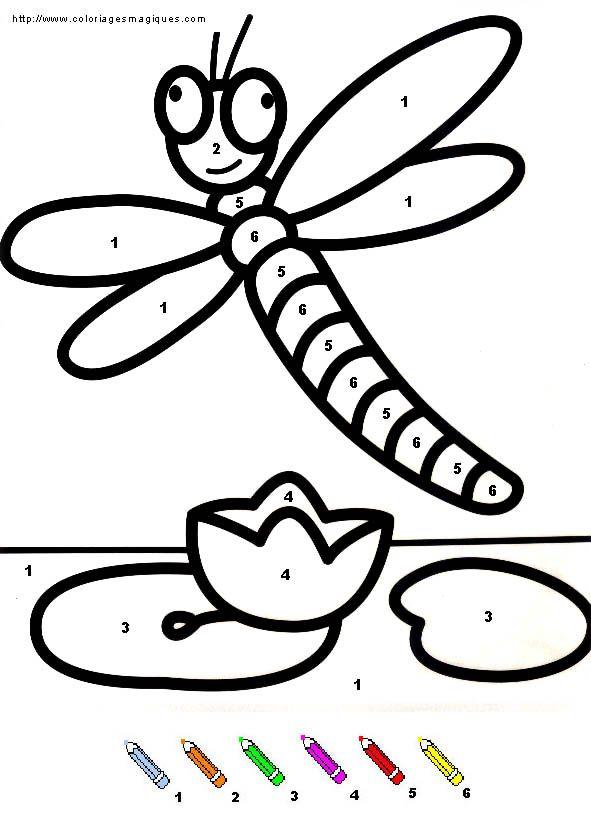Coloriage Magique Insecte.Coloriages Magiques Libellule Niveau Maternelle Les
