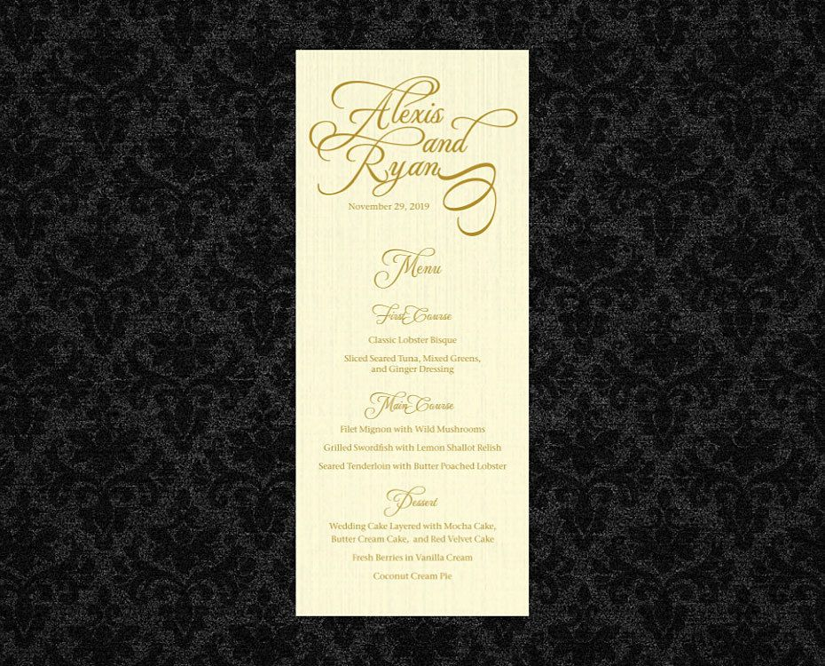 Printable Template Wedding Menu Card Social Event Menu Card