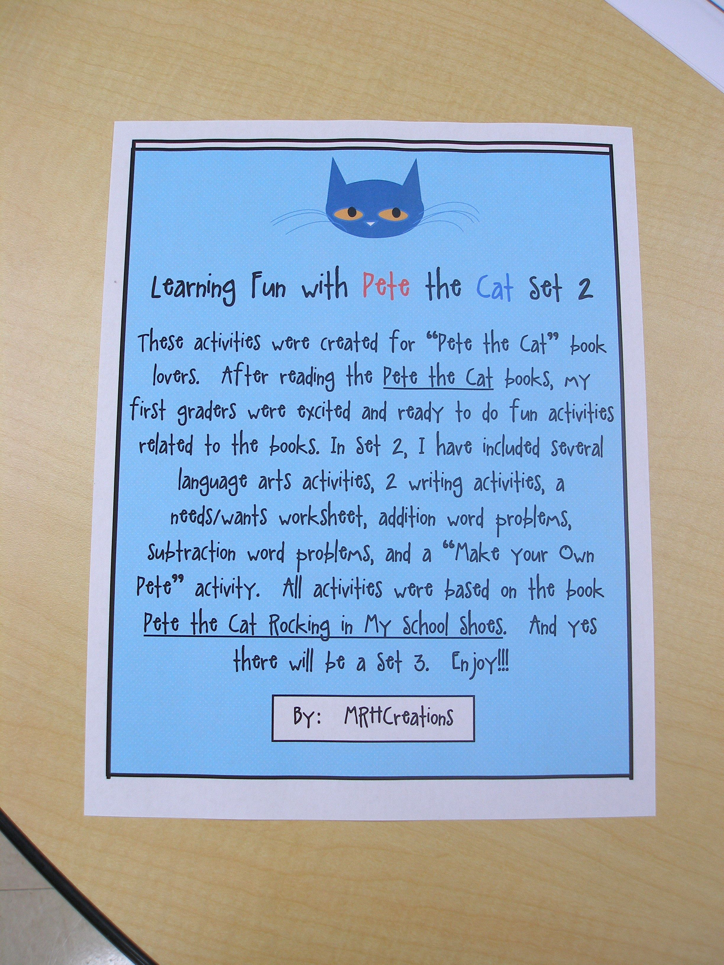 These Activities Were Created For Pete The Cat Book