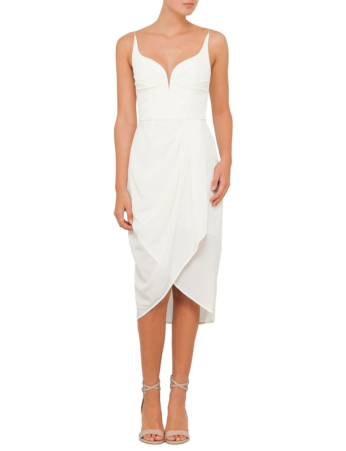 White dress david jones - Silk Drape Dress David Jones