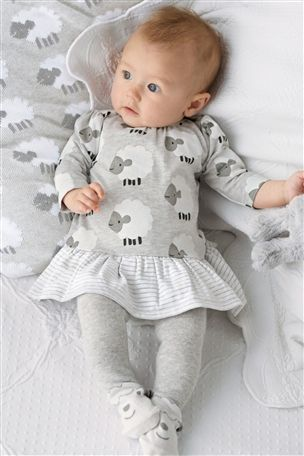 baby babies girls girl knitted dress /& leggings grey pink dresses with bow