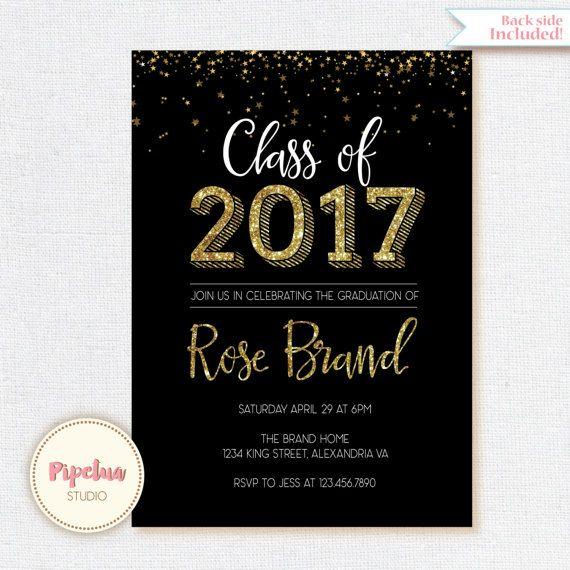 class of 2018 invitation gold glitter graduation invitation