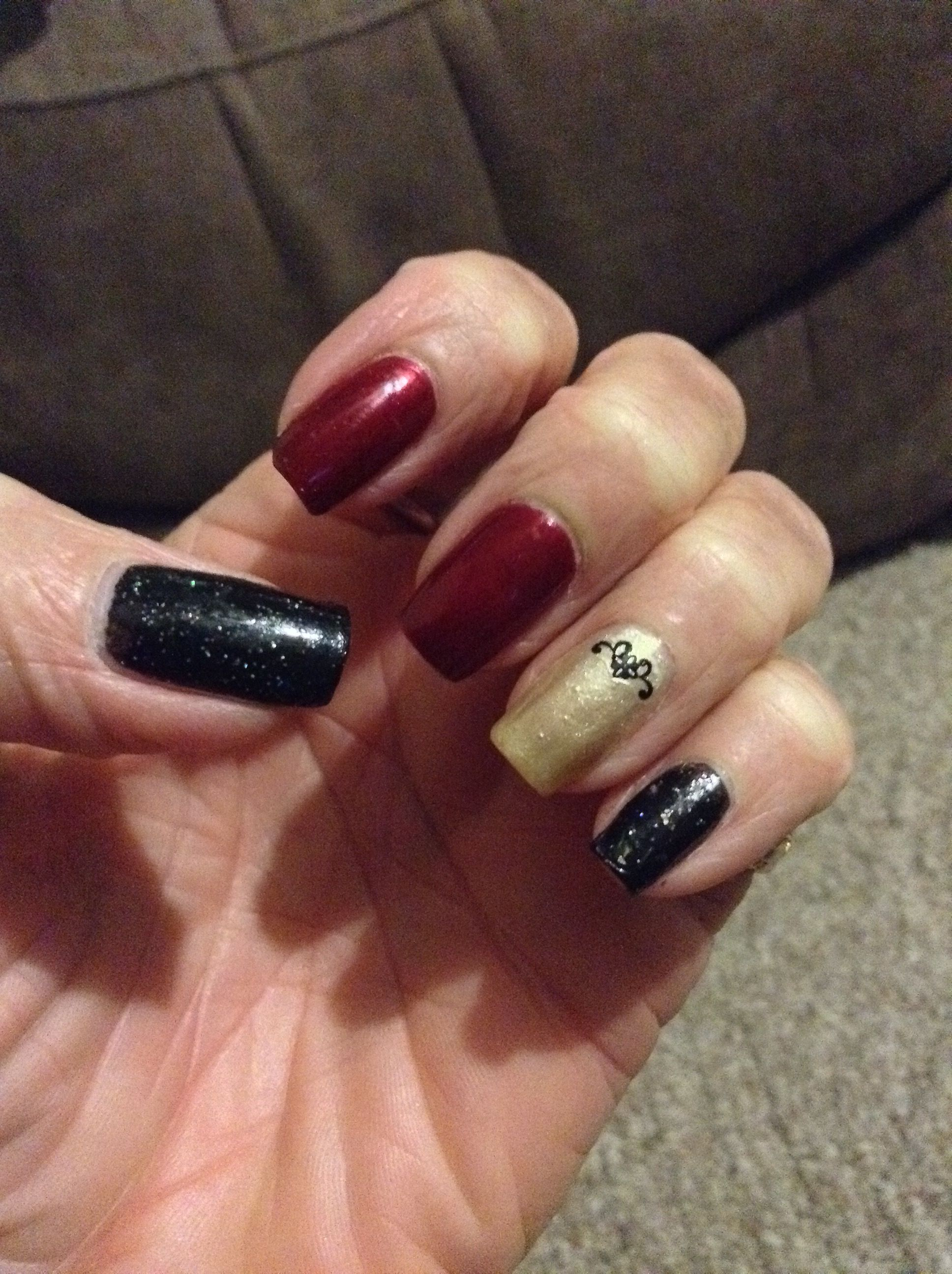 Ring finger is Broadway in Pearl Ivory/black is Sinful Colors in ...