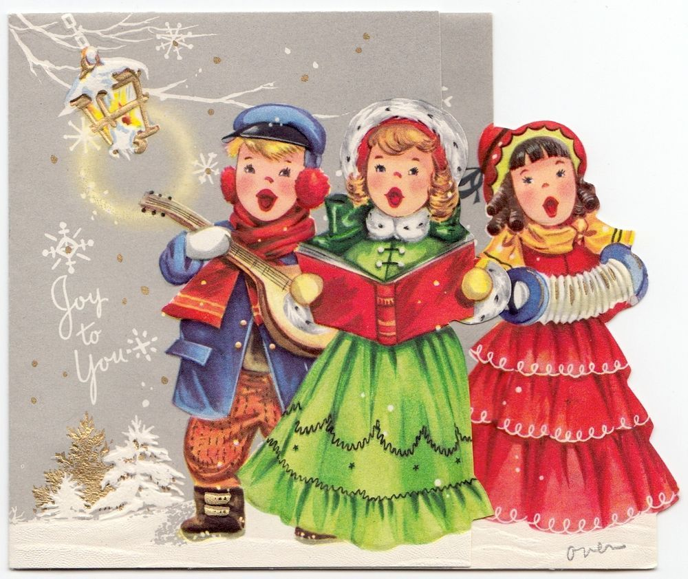 Vintage greeting card christmas carolers old fashioned die cut vintage greeting card christmas carolers old fashioned die cut cute children kristyandbryce Image collections