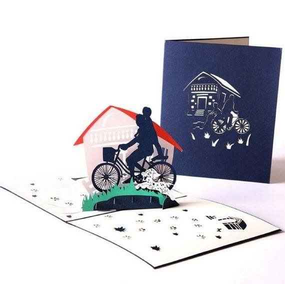 Handmade 3D pop up card father's day dad grandpa birthday gift papa child ride bicycle country lane housewarming family love greeting party