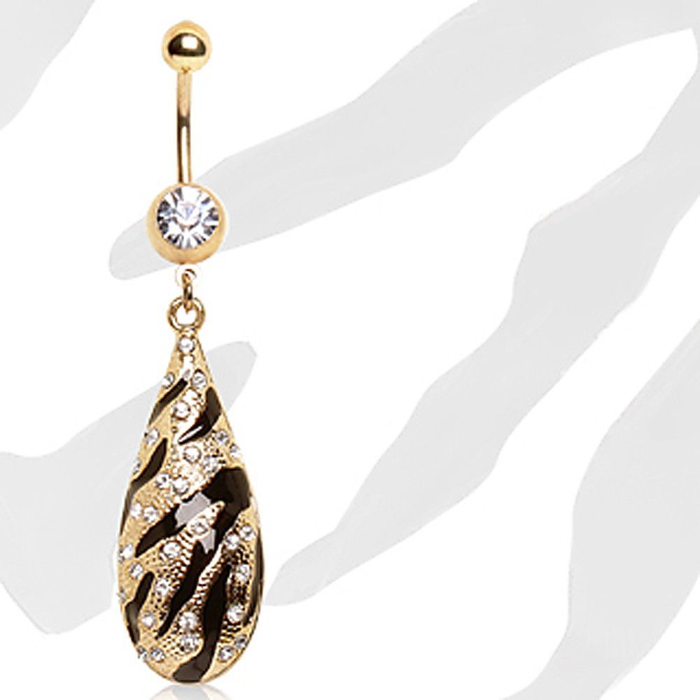 Gold Plated Navel Ring with Zebra Printed Water Drop Dangle