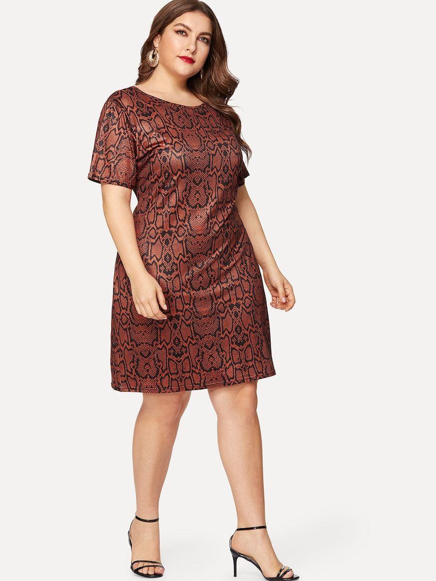 Plus Snakeskin Print Dress Shein Dresses Print Dress Short Sleeve Dresses [ 1199 x 900 Pixel ]