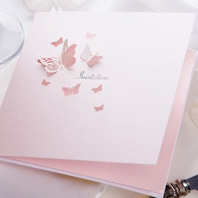 Pink Pearl Butterfly Invitation - Sample