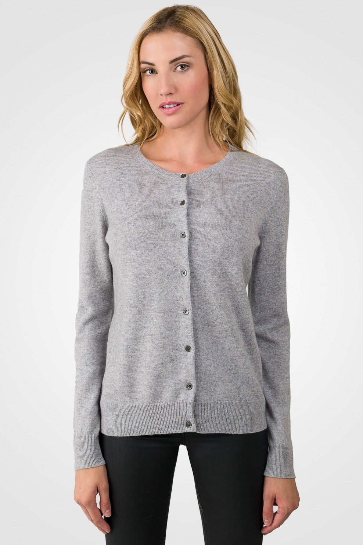 Lt Grey Cashmere Button Front Cardigan Sweater Basic. This is a ...