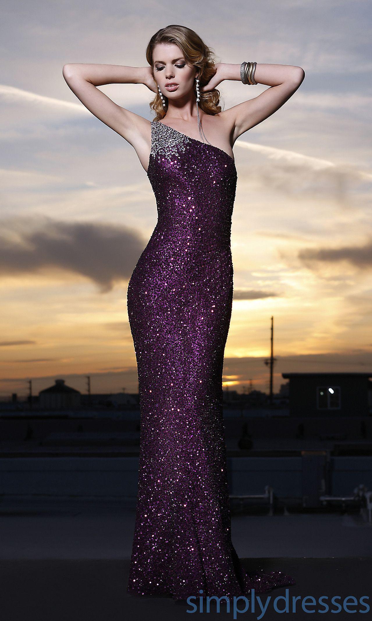 Shoulder One Prom Dress.purple.sequin