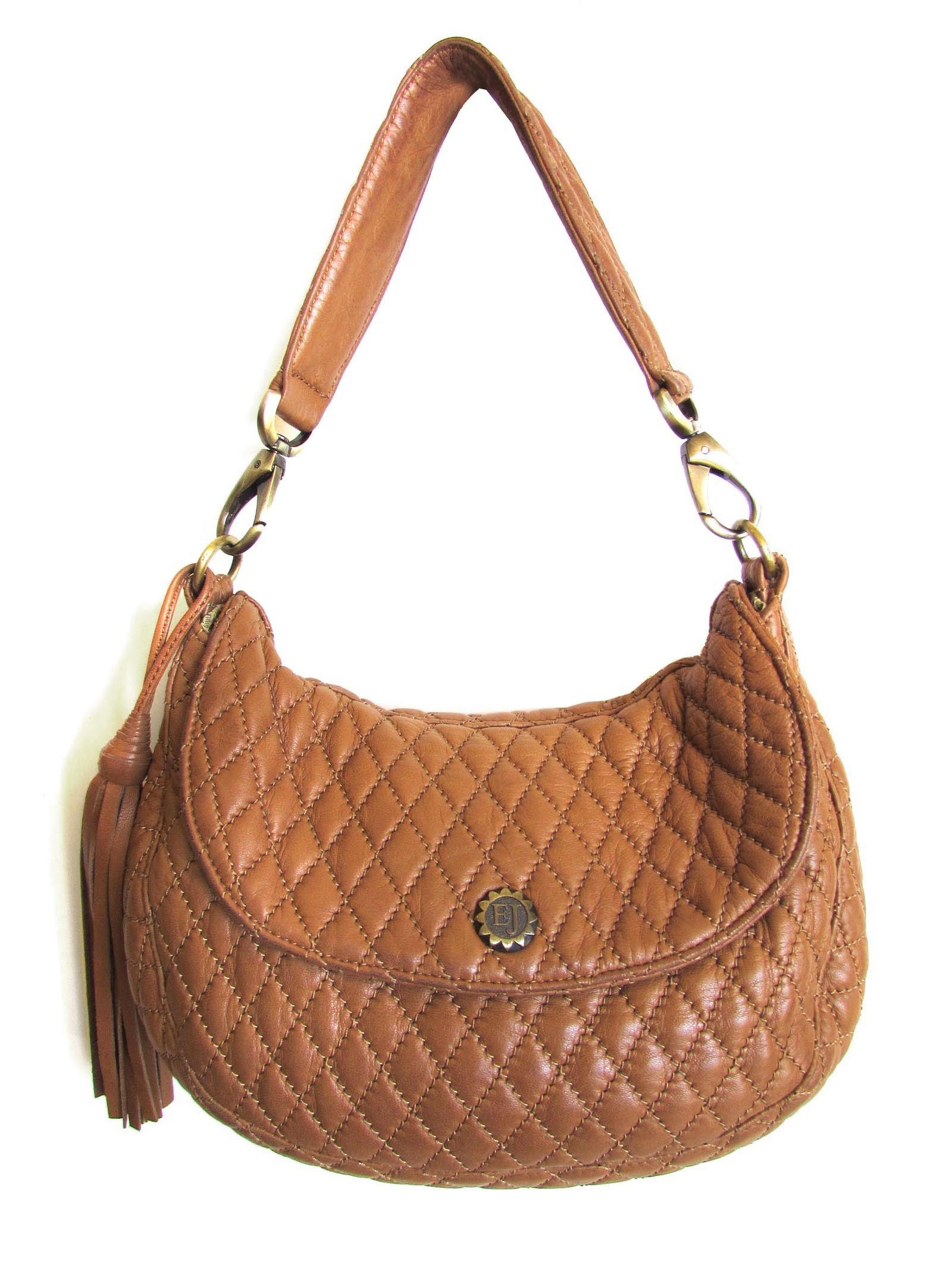 Eric Javits Light Brown Quilted Leather Hobo Handbag