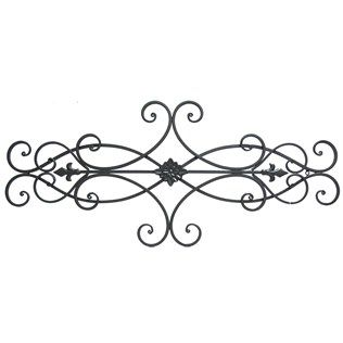 Metal Wall Scroll brown scroll metal wall decor with floral center | metal walls