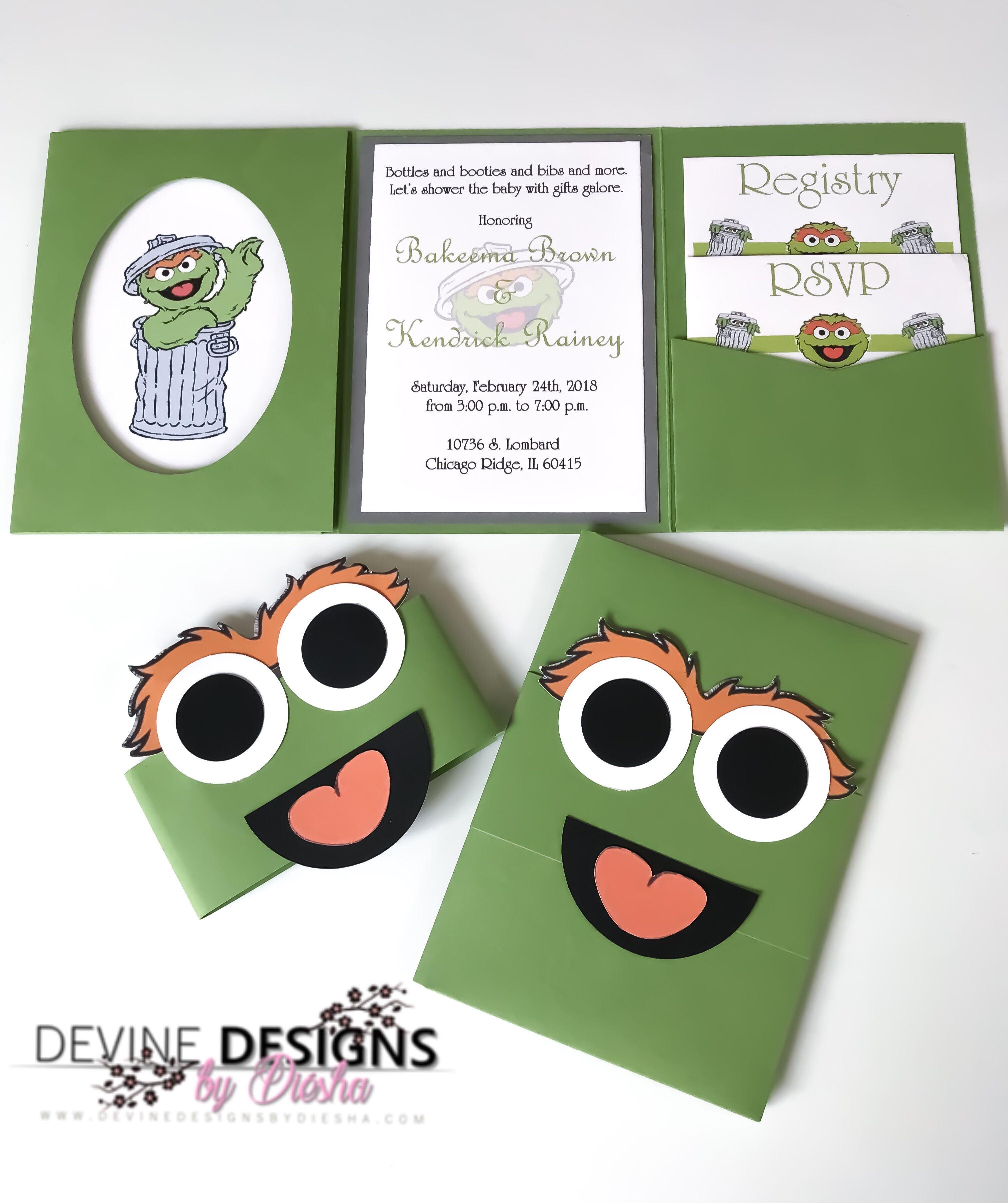 Oscar the grouch baby shower invitations Sesame Street inspired