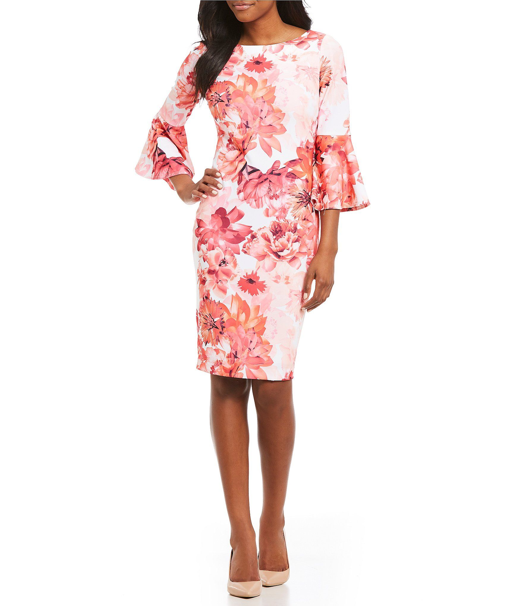 24b27750 Shop for Calvin Klein Scuba Crepe Floral Print Bell Sleeve Sheath Dress at  Dillards.com. Visit Dillards.com to find clothing, accessories, shoes, ...