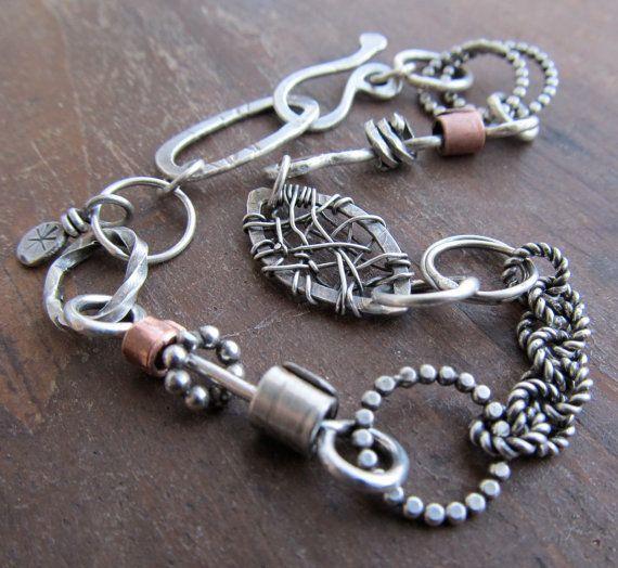 Sterling silver Charm BRACELET Chunky Wire Wrapped Bracelet Chain Links