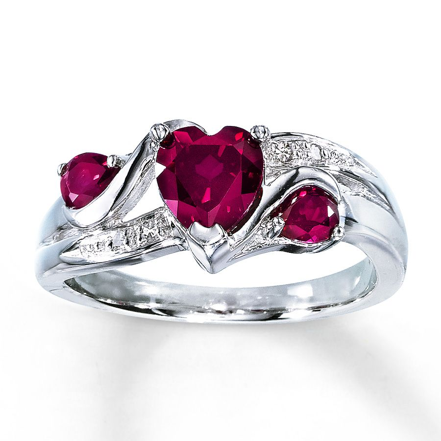 Lab Created Ruby Ring Heart Cut With Diamonds Sterling Silver