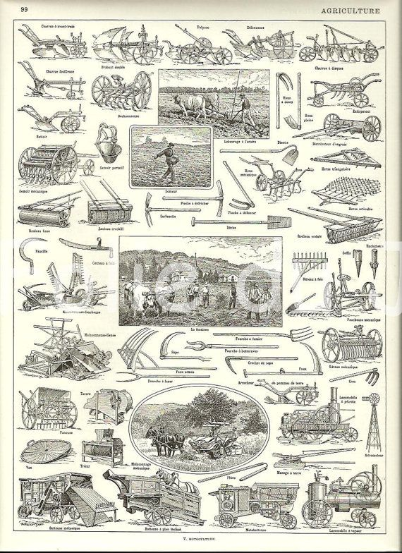 Farming tools vintage french larousse dictionary poster for Gardening tools dictionary