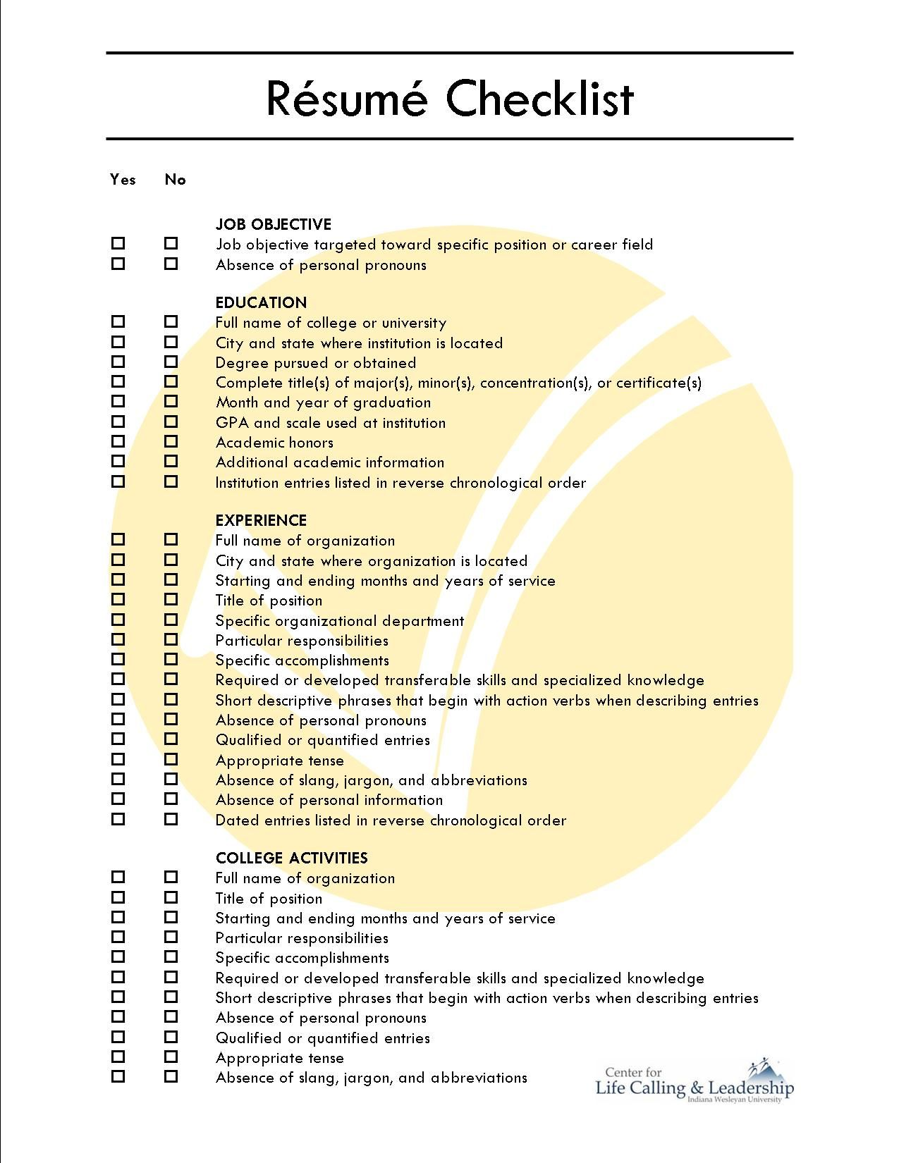 Comprehensive Resume Checklist Sample - Comprehensive Resume ...