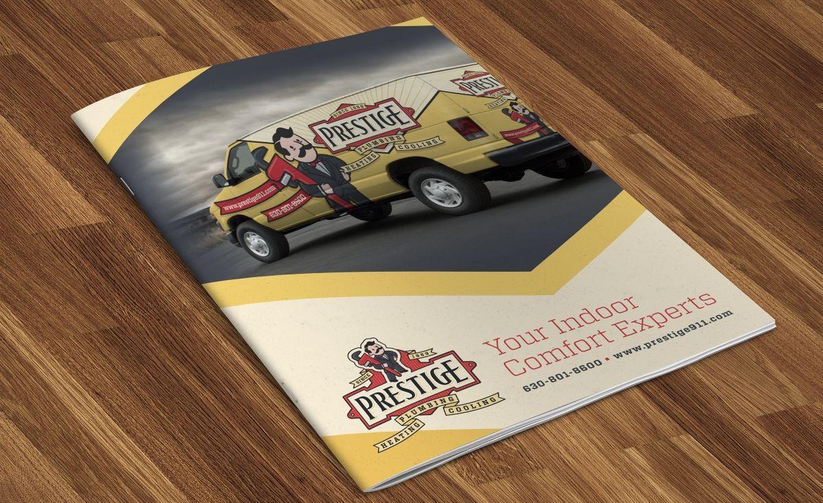 Prestige Plumbing Heating Cooling Kickcharge Creative With Images Plumbing Logo Design Plumbing Logo Brochure Design