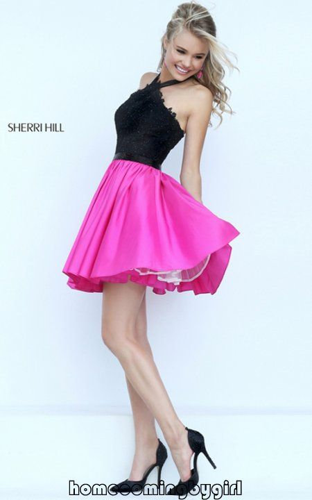 2016 Black/Fuchsia Halter Neck Lace Bodice Short Pleated Cocktail Dresses  On Sale Sherri Hill 50386 Two-Tone