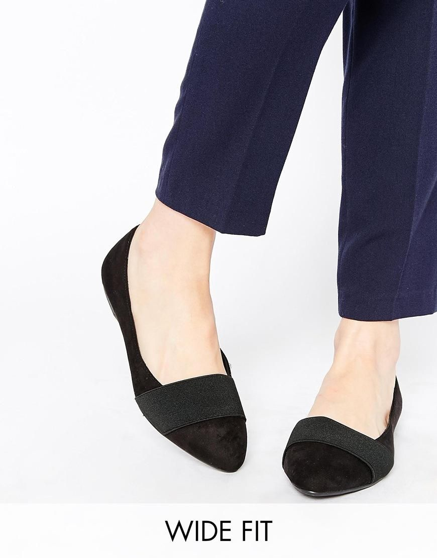 New Look Wide Fit | New Look Wide Fit Black Strap Ballerina Flat Shoes at ASOS