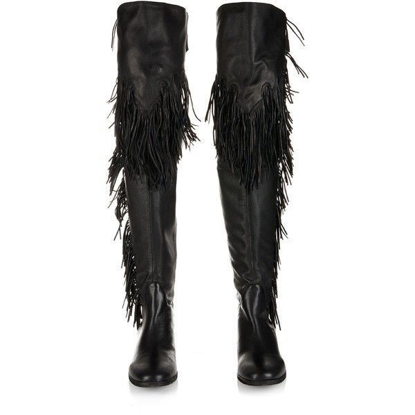 See By Chloé Epona fringed leather over-the-knee boots featuring polyvore, fashion, shoes, boots, black fringe boots, over knee leather boots, black leather boots, thigh high leather boots and black thigh boots
