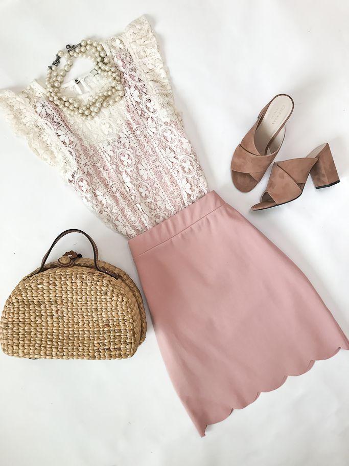 scalloped skirt, picnic basket straw bag, pink suede slides mules ...