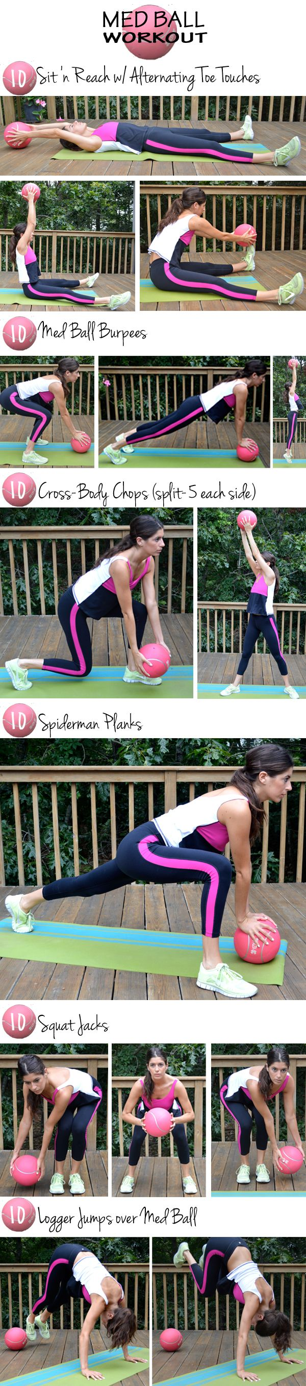 Hanging knee raises with medicine ball - 10 S Med Ball Workout