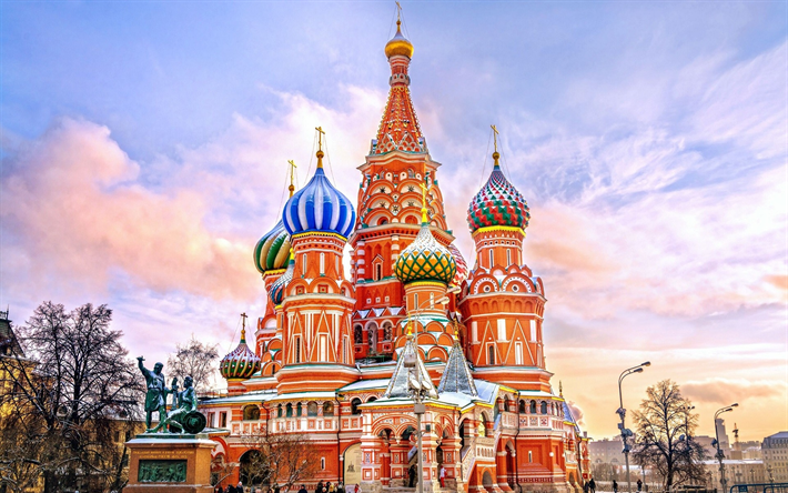 Download Wallpapers Saint Basils Cathedral Cathedral Of Vasily The Blessed Moscow Red Square Russia Architectural Monuments Attractions Moscow Landmarks St Basils Cathedral Cathedral Cheap Holiday Destinations