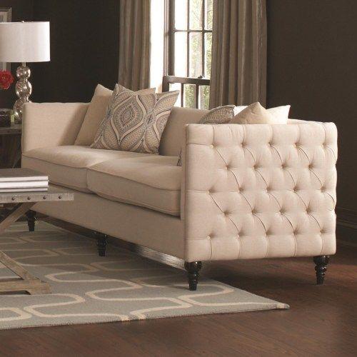Coaster Claxton Traditional Tuxedo Sofa with Tufting Coaster Fine