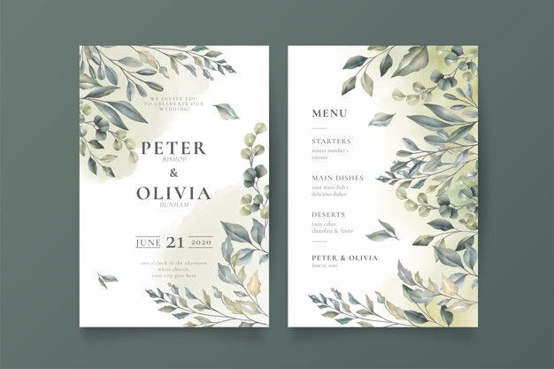 Download Elegant Wedding Invitation And Menu Template For Free Elegant Wedding Invitations Pink Wedding Invitations Wedding Invitations