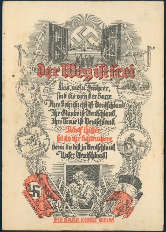 3rd Reich Germany Saar Kehrt Heim Propaganda Card