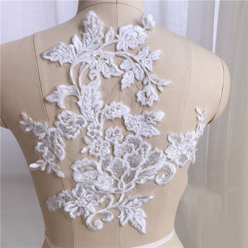 10pieces Cotton Lace Applique Flower Lace Trim Sequins Appliques Hihg Quality Diy Crafts Material For Wedding Dress Floral Lace Bridal Lace Bridal Dresses Lace