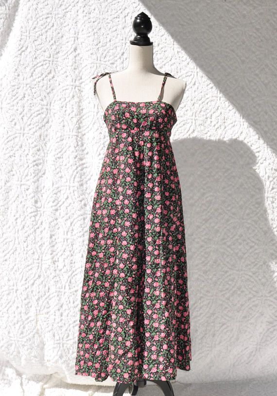 70764db6710 Pink Roses Floral Sundress Empire Waist Midi Dress. Retro