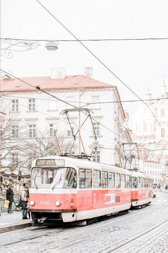 Prague Red Tram Print, Digital Download, Europe Tr