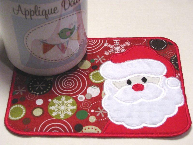 In The Hoop Mug Rug Applique Embroidery Design    Mug Rugs