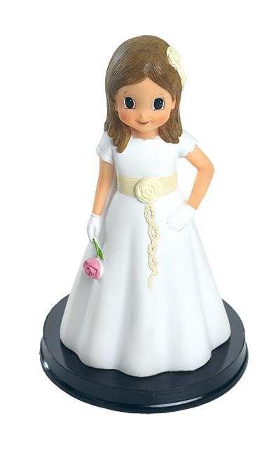 Figura tarta niña Comunión vestido detalles beig | PRIMERA COMUNIÓN ...