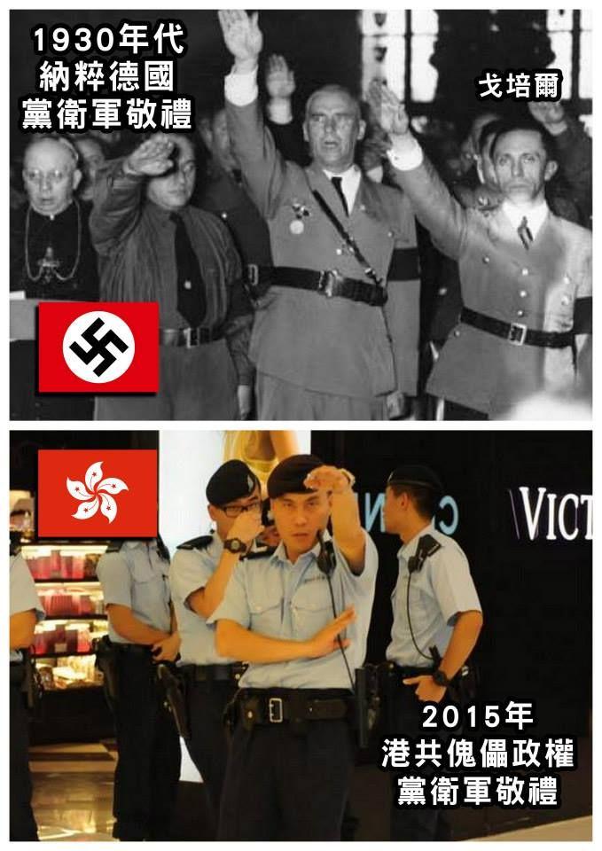 【納粹與港共】 上圖:1930年代,納粹德國黨衛軍敬禮。 下圖:2015年,港共傀儡政權黨衛軍敬禮。